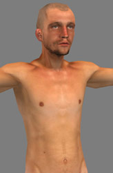 Low poly nude male 3d model - textured