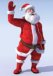 Rigged santa claus 3D model with morph targets.